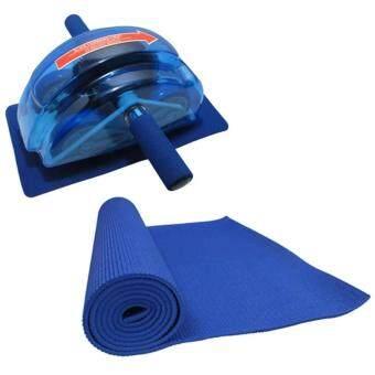 2561 เครื่องออกกำลังกายลดหน้าท้อง Roller Slide Ab Slide (Blue) + เสื่อโยคะ หนา 6 มม. (สีน้ำเงิน)