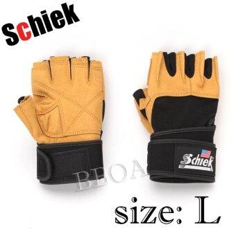 ประเทศไทย Schiek ถุงมือ ยกน้ำหนัก ถุงมือฟิตเนส Fitness Glove size L (Yellow) รุ่นหนา จัดส่งฟรี