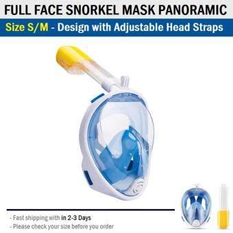 หน้ากากดำน้ำ ขนาด S/M แบบเต็มหน้า ไม่ต้องคาบ ท่อหายใจ กันฝ้า พร้อมขาติดกล้อง - Diving mask 180° View Snorkel Mask Panoramic Full Face Design Size S/M