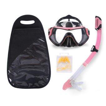 หน้ากากดำน้ำ Sports Outdoors Face Plates Breathing Tube Snorkeling Diving Mask Full Dry Glasses Goggles Anti-fog + Bag with Ear Plug Nose Clip - intl