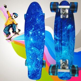Harga Sports Outdoors Skateboards 100Kg Load Retro Skateboard Starry SkyPattern Mini Board For Outdoor Sport(Blue) - intl