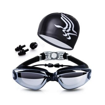 Swim Goggles + Swim Cap + Case + Nose Clip + Ear Plugs,ClearSwimming Goggles Coated Lens No Leaking Anti Fog UV Protection forAdult Men Women Youth Kids Child,Black - intl