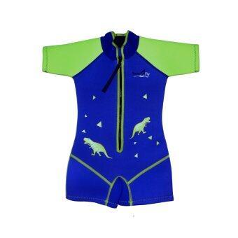 SwimFly Wetsuit for Kids ชุดว่ายน้ำกันหนาว ชุดว่ายน้ำรักษาอุณหภูมิ สำหรับเด็กลายไดโนเสาร์ (สีน้ำเงิน)