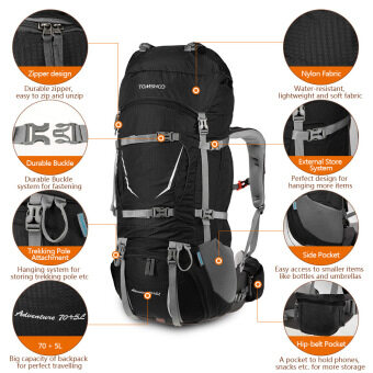 TOMSHOO Backpack 70+5L Outdoor Sport Water-resistant Internal Frame Backpack Backpacking Trekking Bag with Rain Cover for Climbing Camping Hiking Travel Mountaineering - intl