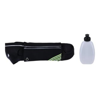 Waterproof Running Jogging Water Bottle Waist Bag with WaterBottle(Black) - intl