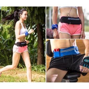 Waterproof Sport Running Beltกระเป๋ากีฬาแบบคาดเอวใส่โทรศัพท์มือถือกันน้ำได้ (สีดำ) ฟรี นาฬิกาSport 1 ชิ้น - 2