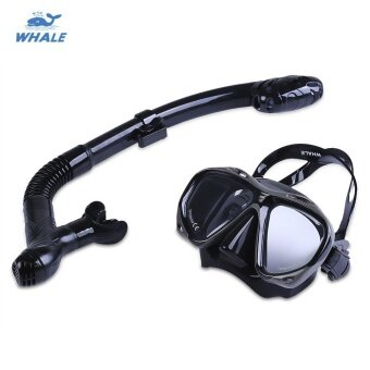 WHALE Professional Diving Water Sports Training Snorkeling Silicone Mask Snorkel Glasses Set Available in Red, Black and Yellow Colors - intl