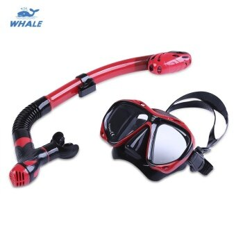 WHALE Professional Diving Water Sports Training Snorkeling Silicone Mask Snorkel Glasses Set Available in Red Black and Yellow Colors - intl