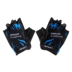 Whyus-Breathable Elastic Bicycle Sports Half Finger Gloves One Size For Cycling (Black C) - intl