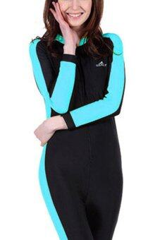 Women Wetsuit Long Sleeve Swimsuit Diving Wet Suits Spring Autumn Full Body Swimwear – (Sky Blue)