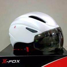 หมวกจักรยาน X-FOX มีแว่นแม่เหล็ก สีขาว-เงิน