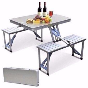 XtiveGo ชุดโต๊ะปิคนิคอลูมิเนียมพับได้ 4 ที่นั่ง ชุดโต๊ะปิคนิคพับได้ (สีเงิน)