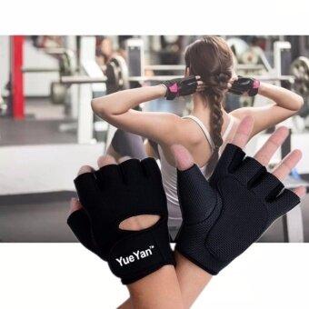 2561 YUEYAN ถุงมือฟิตเนส ถุงมือออกกำลังกาย Fitness Glove Weight Lifting Gloves Black ( Int:L)