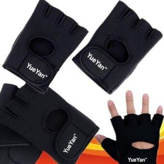 ประเทศไทย YUEYAN ถุงมือฟิตเนส ถุงมือออกกำลังกาย Fitness Glove Weight Lifting Gloves Black ( Int:L)