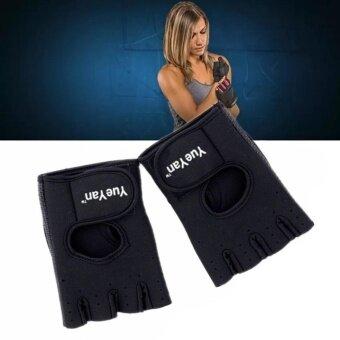 ประเทศไทย YUEYAN ถุงมือฟิตเนส ถุงมือออกกำลังกาย Fitness Glove Weight Lifting Gloves Black ( Int:M)