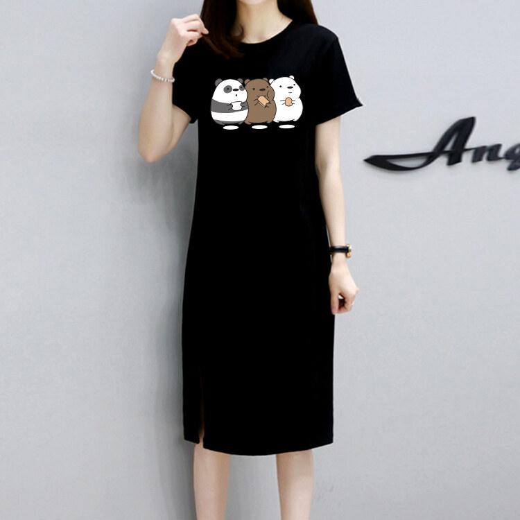 กระโปรงยาวเสื้อยืดแฟชั่นเกาหลีแขนสั้นลายแพทเทิร์นยืดผ้ายืดกระโปรงหวานน่ารักQ149
