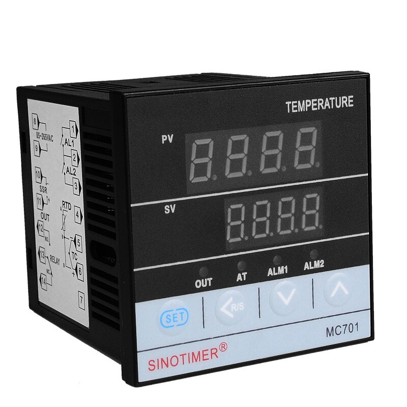 SINOTIMER MC701 Digital PID Temperature Controller Waterproof K Type PT100 Sensor Input Relay SSR Output