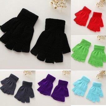1 pair Lovely Flower Girl Party Bowknot Female Fingerless Gloves Mittens Women Ceremony Communion Accessories - intl