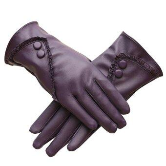 1 Pair of Women Touch Screen Sensitive Gloves PU Lace Solid ColorWinter Warm Glove Purple - intl