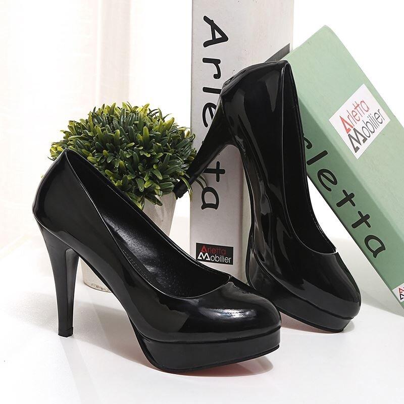 สีดำกันน้ำไต้หวันดีกับเสื้อผ้ารองเท้ามืออาชีพรอบรองเท้าส้นสูง (สีดำดีกับ (10 cm))