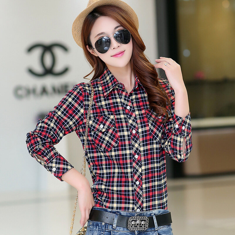 เสื้อเชิ้ตผ้าฝ้ายหญิงเสื้อเกาหลีสลิม (1001 Hong Huang Gezi)