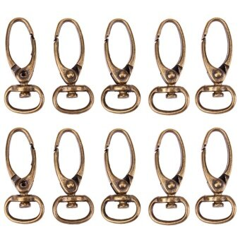 10pcs Retro Style Antique Bronze Finish Luggage Bag Buckle Lobster Clasps(Bronze) - intl