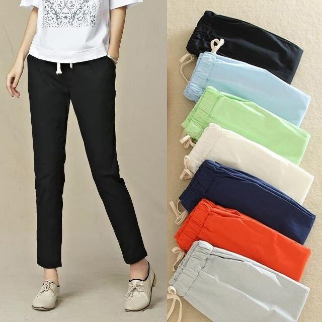 11 Colors Women New Casual Cotton and Breathable Linen Nine Trousers Harem Pants -Black - Intl shop-women-chinos