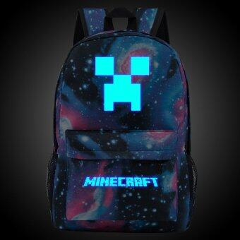 18.5inch Star Minecraft Logo Teenagers Backpacks Night-luminousBarcelona Travel Bags School Bag Shoulder Bags Gift for Boys Girls - intl""