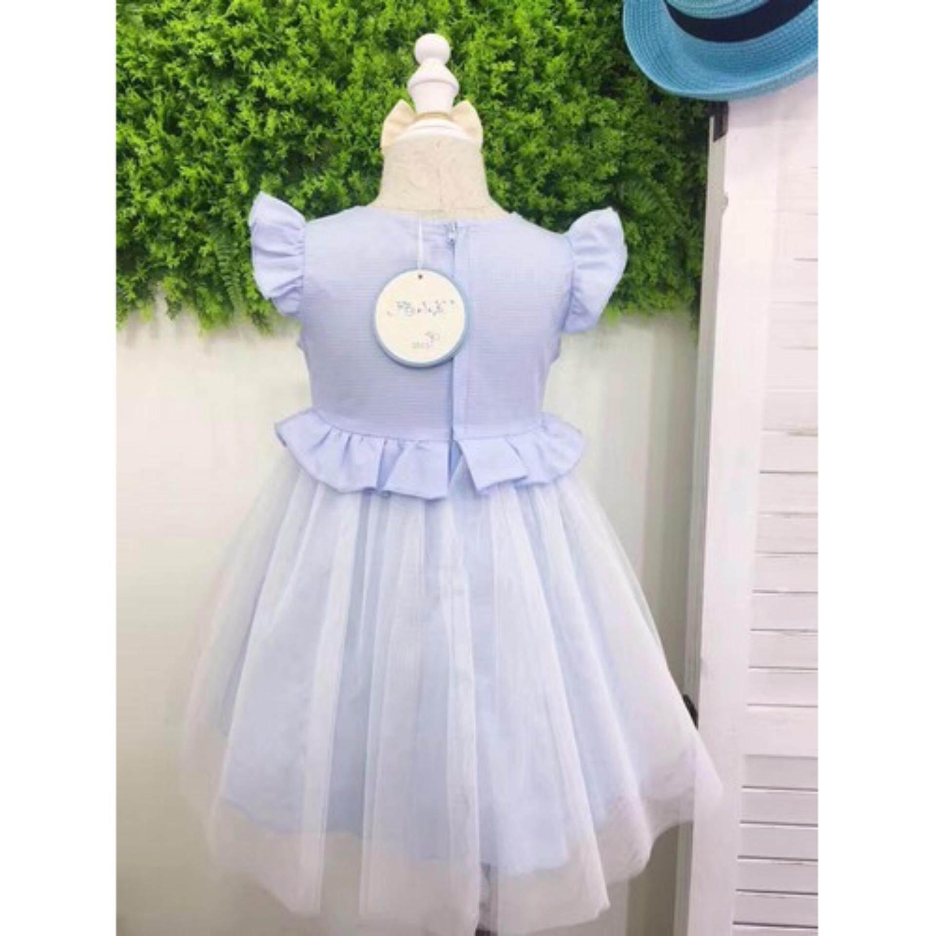 ชุดกระโปรงเด็ก สีฟ้า สำหรับเด็กอายุ 2-3 ปี (ไซส์ 4)