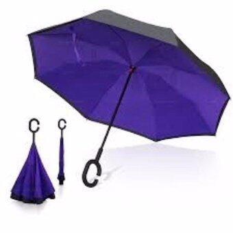 ร่มกลับด้าน 2 ชั้น มือจับตัว C กันแดดUV Reverse Umbrella (purple)