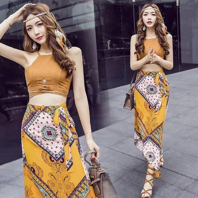2 in 1 women Bohemia sexy backless two piece beach skirt Thailand seaside holiday dress maxi dress - intl