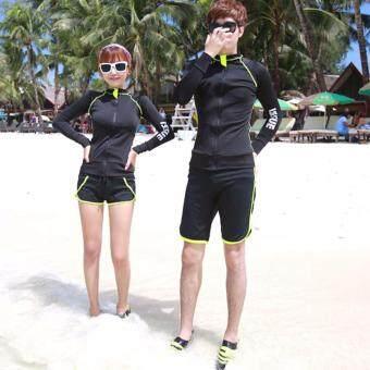 ชุดว่ายน้ำผู้ชาย เซ็ต 2 ชิ้น แขนยาว Issue Black มีเซ็ตคู่รักแยกขาย ไซต์ XL-3XL # 4754