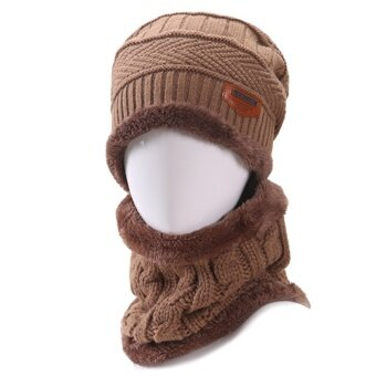 2 PCS Unisex Winter Knit Hat And Neck Warmer Scarf Set Men Women Thick Knitted Skull Cap Beanie Hat Warm Scarf Coffee - intl