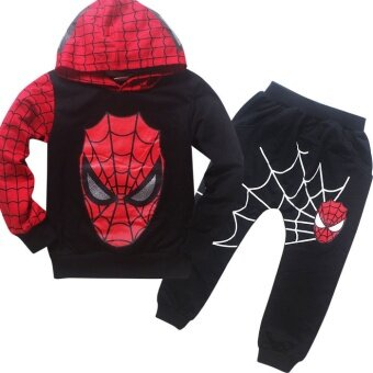2 Pieces Boy's 1-10Yrs Thin Cotton Pant + Top Hoodies Sweater(Color:Black) - intl