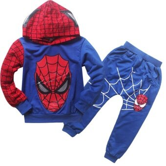 2 Pieces Boy's 1-10Yrs Thin Cotton Pant + Top Hoodies Sweater(Color:Blue) - intl