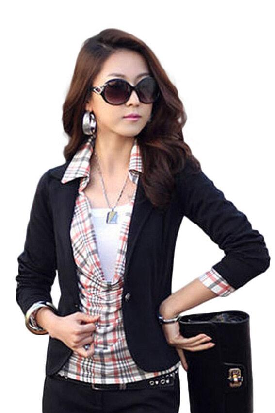 2015 New Trendy Slim Blazer Women ELEGANT LAPEL ONE BUTTON LONG SLEEVE Blazer Woman SHORT SUIT Jacket Lady BLAZER COAT Black