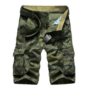 2016 Fashion Men's Camouflage Cotton Loose Fit Multi PocketShorts(Army Green)
