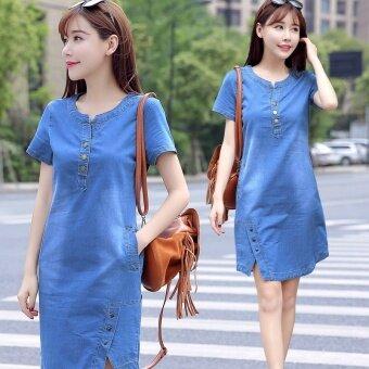 กระโปร่งยีนส์ยาวผู้หญิง สไตส์เกาหลี ฟรีไซค์ 2017 (สีฟ้า)