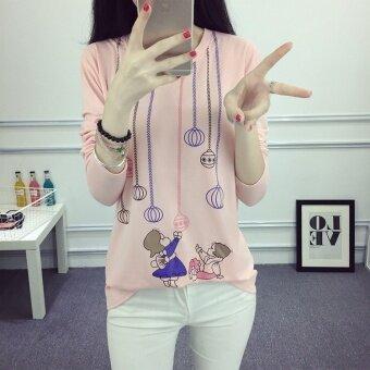 เสื้อยืดไหมพรมหญิง ฟรีไซค์ แฟชั่นเกาหลี 2017 (1822 สองคนเล่นลูก-ชมพู)
