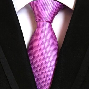 2017 Classic Men's Formal Strip Commercial Tie Polyester Silk Neckties For Casual Business Party Wedding Vintage Ties(Purple) - intl