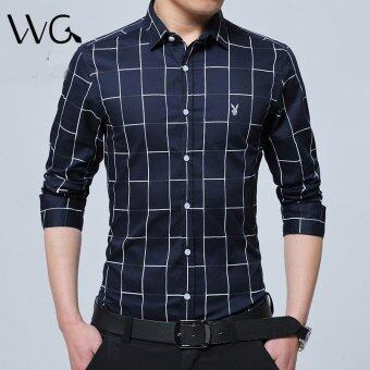 2017 New Fashion Casual Men Shirt Long Sleeve Mandarin Collar SlimFit Shirt Men Formal Business Mens Dress Shirts Men Clothes (NavyBlue) - intl