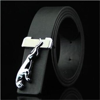 2017 New Leopard PU Leather Belt Ceinture Men Women Belts High-Grade Smooth buckle Belt white - intl