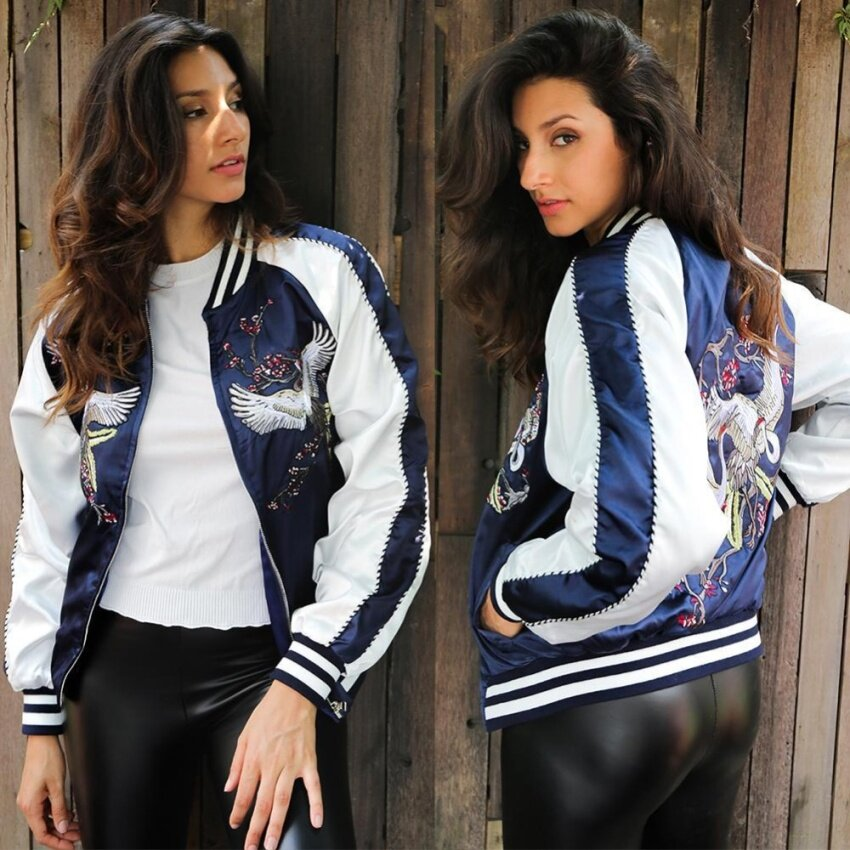 2017 Satin Embroidery Jacket Coat Autumn Winter Street Women Casual Basic Baseball - intl
