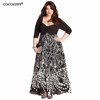 2017 Spring Women Dress Large Big Plus Size Square Collar SexyPrint Party Dresses Fashion Casual Dress Vestidos 5XL Clothing -intl
