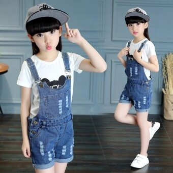 2017 Summer Big Girls Denim Strap Shorts Children's Cute CoolFashion Denim Jumpsuit - intl - 5