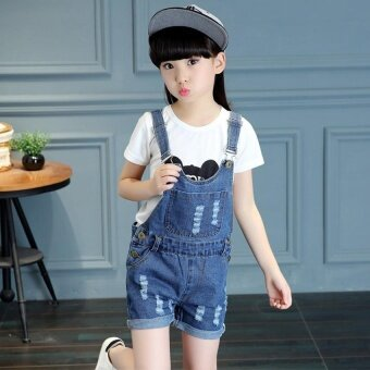 2017 Summer Big Girls Denim Strap Shorts Children's Cute CoolFashion Denim Jumpsuit - intl - 3