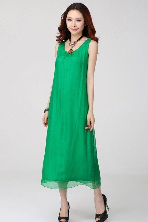 2017 Summer New style  Women's Mulberry silk Belt Beach dress Sleeveless Long Dresses (Green)
