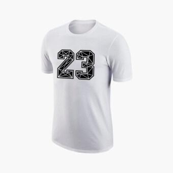 ขาย กีฬาผ้าฝ้าย 23 ฉบับที่รอยแตกแขนสั้นเสื้อยืด (เลขที่ 23 # ในสีขาวสีดำคำ)