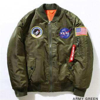 2559 Hequ Freelee แจ็คเก็ตไนลอน Nasaบินอเมริกันคอลเลจมหาวิทยาลัยจดหมายระเบิดชายแจ็กเก็ตนักบินกองทัพสีเขียว