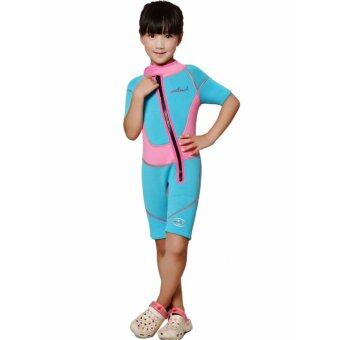 2.5mm Neoprene Kids Girls Shorty Wetsuits Short Sleeve Child Girl Swim Diving Snorkeling Wet Suit Swimsuit – Pink Blue